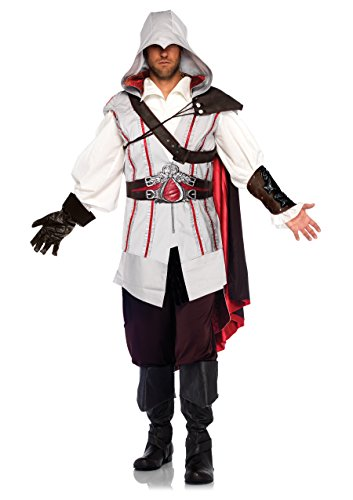 Leg Avenue Suede Costumes (Assassin's Creed Ezio Ninja Animus Licensed Halloween Costume Outfit Adult Men)