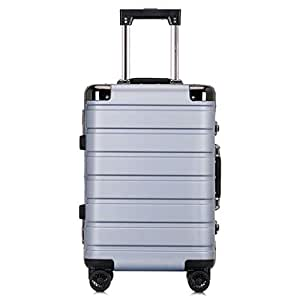 GLJJQMY Trolley Custom PC Aluminum Frame Caster Luggage Suitcase Male and Female Business Password 20 Inch Outdoor Travel Boarding Trolley case (Color : Light Gray, Size : 20 inches)