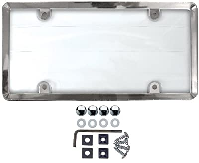 Custom Accessories 90085 Clear Cover License Plate Frame with Chrome ABS Frame Anti-Theft Fasteners