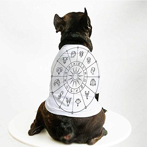 YOLIYANA Astrology Breathable Pet Suit,Sketchy Zodiacal Circle with Astrology Signs Aries Aquarius Pisces Lion Art for Small Dog Teddy Chihuahua Bichon,S