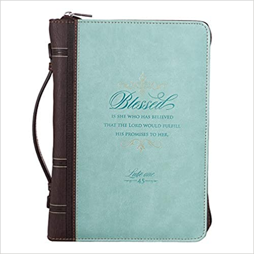 Light Blue and Brown Blessed Is She Medium Bible Cover
