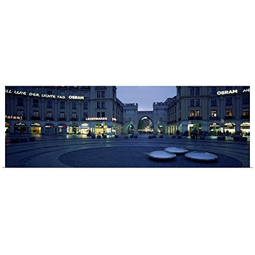 GREATBIGCANVAS Poster Print Entitled Buildings lit up at Dusk at a Town Square Karlsplatz Munich Bavaria Germany by 36