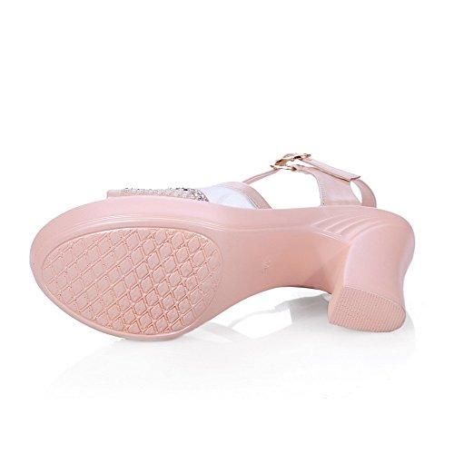 Allhqfashion Dames Koe Lederen Solid Gesp Peep Toe Hoge Hakken Sandalen Roze