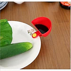 Kitchen Tool 4Pcs Home Cutlery Dip Clips Bowl Small Flavored Dish For Spice Tomato Sauce Nutshell , Red