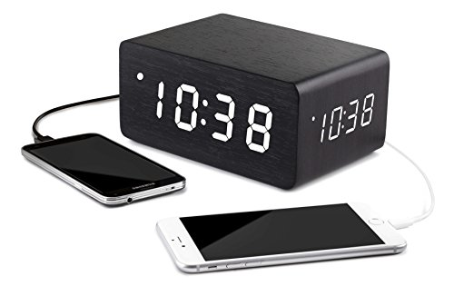 Triple Display Wooden Alarm Clock Dual USB Charging Ports - Multiple Loud Alarms, for Adults & Kids Digital LARGE White Dimmable LED, Date Temperature Battery Backup Home & Office Decor Clocks