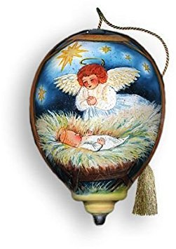 Ne'Qwa Ornament Angel Nativity, 3-Inches Tall, Designed by Noted Artist Susan Winget (Susan Winget Angel Ornament)