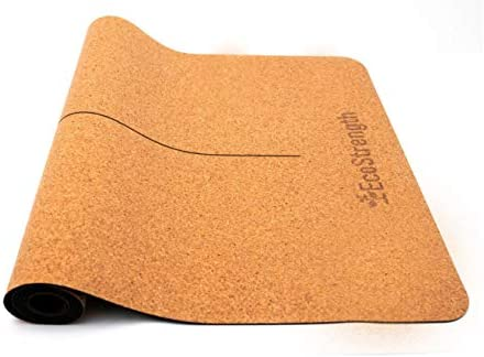 EcoStrength Luxury Cork Yoga mat – Non Slip, Soft, and Sweat Resistant. Thicker, Longer and Wider for Added Comfort and Support. Sustainable Cork Tough Enough for Hot Yoga