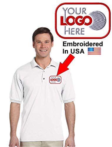 Custom Logo Embroidered Jersey Polo, Dry Blend Polo Shirt, Your Company Logo (M, White)