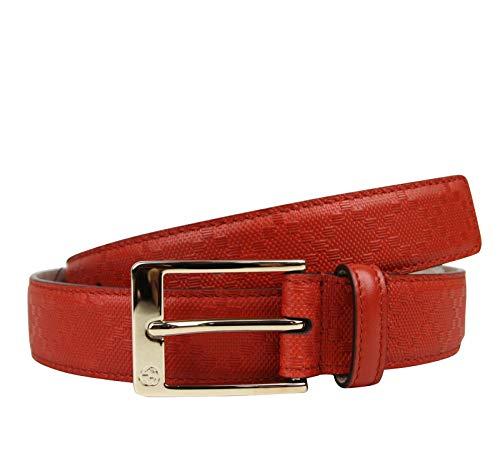 Gucci Men's Leather Diamante Square Buckle Belt 345658 (110/44, Orange Red) ()