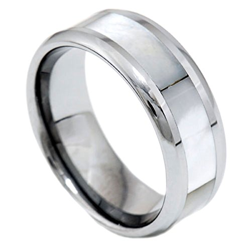 FlameReflection 8mm Mother-of-Pearl Inlay Tungsten Round Edge Band Men