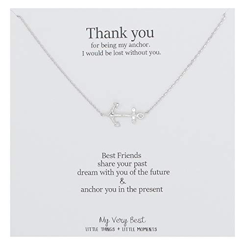 My Very Best Sideways Anchor Necklace (Silver Plated Brass) -