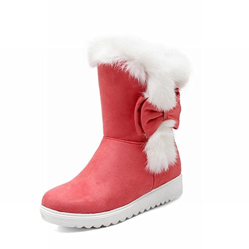 Carolbar Womens Fashion Winter Warm Bows Faux Fur Sweet Cute Lovely Snow Boots Red