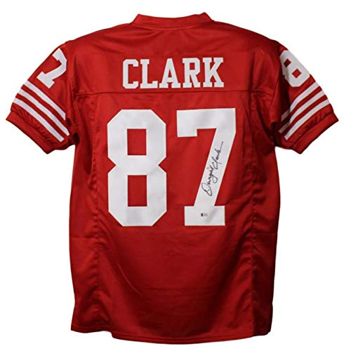 d8e987b95 Dwight Clark Autographed Signed San Francisco 49ers XL Red Jersey BAS