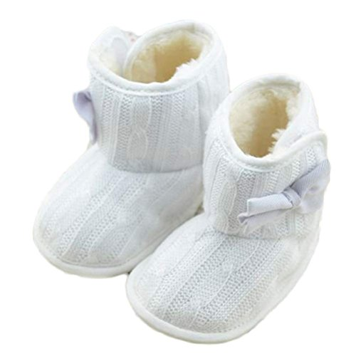 Baby Girls Winter Snow Boots with Bowknot (White) - 5