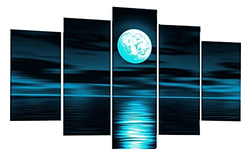 Ode-Rin Art - 100% Hand Painted Oil Painting on Canvas Blue Skyline Sea White Full Moon Night Wood Framed Landscape Wall Art Painting Abstract Home Decoration, Ready to Hang