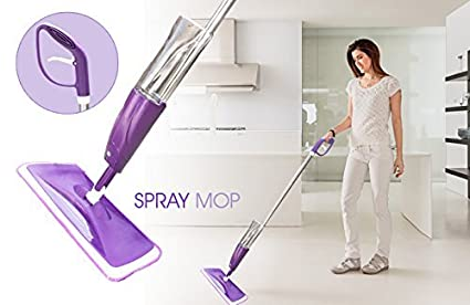Nevil Floor Mop with Removable Washable Cleaning Pad and Integrated Water Spray Mechanism (Random Color)