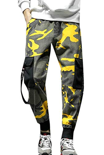 Gnao Men's Hip Hop Camouflage Print Jogger Multi Pockets Casual Cargo Pants Black S by Gnao