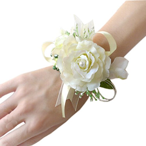 Arlai Wrist Corsage wristband Roses Wrist Corsage for Prom, Party, Wedding Beige (Corsages For Prom)