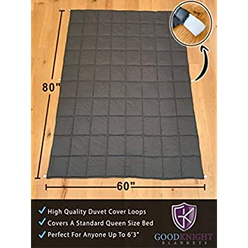 Image of Good Knight Weighted Blanket | 60'x80' 17 lbs | Hypoallergenic Poly-Pellets Washable 100% Cotton Material Good Knight Blankets B077TYNGGL Weighted Blankets