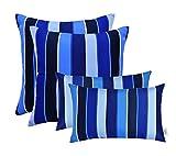 RSH Décor Set of 4 Indoor/Outdoor Square & Rectangle Throw Pillows Sunbrella Milano Cobolt Blue Stripe (12'' x 20'' & 17'' x 17'')