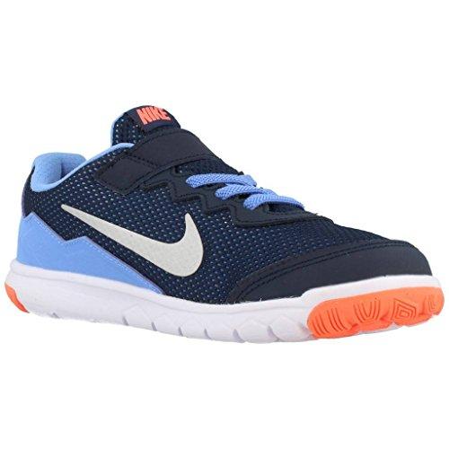 Nike Flex Experience 4 (Psv), Zapatillas de Deporte para Niñas Negro / Plateado / Amarillo / Blanco (Obsdn / Mtllc Slvr-Brght Mng-Wht)