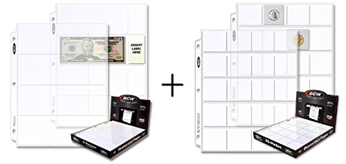 ( 24 Pcs Total ) – BCW Pro 4-Pocket Currency & 20-Pocket Storage Page – Dollar Bill & Currency Coin Collecting Organizer Holder Supplies