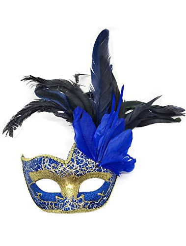 Women's Feather Masquerade Mask Venetian Halloween Mardi Gras Costumes Party Ball Prom Mask (Blue)
