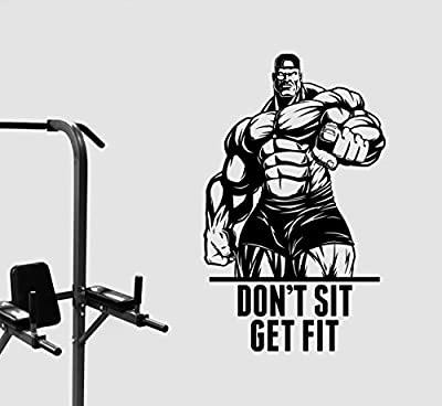 Fitness Motivational Wall Decal Don't Sit Get Fit Quote Sticker Inspirational Vinyl Art Decorations Gym Training Workout Crossfit Club Center Studio Decor Ideas fgm20
