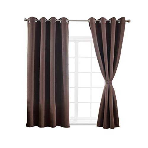 Cheap Yakamok Blackout Thermal Insulated Grommet Curtains Bedroom/Living Room, Chocolate Brown,Set of 2,52″ Wide x 63″ Long Each Panel,Tie Backs Included