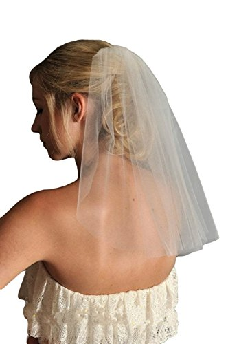 Dreamdress Women's Short Wedding Veils Tulle White Bridal Veils(White) (Tulle Veil)