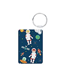 Aluminum Photo Keychain (2-Sided) Astronauts Planets Moon Space