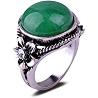 Fashion Cezch Crystal Flower Green Jade Stone Antique Silver Plated Ring Gift CN LOVE STORY (8#)