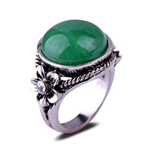 - Fashion Cezch Crystal Flower Green Jade Stone Antique Silver Plated Ring Gift CN LOVE STORY (9#)