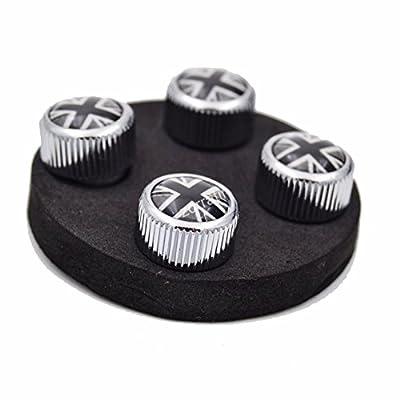 4x Zorratin Chrome Black Union Jack British Flag Tire Valve Stem Cap Cover for BMW Mini Cooper r50 r53 r56 r56n f55 f56 r55 r52 r57 r58 r59 r60 r61 jcw OEM: Automotive