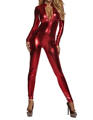 Quesera Women's Sexy Catsuit Long Sleeve One Piece Stretchy Metallic Full Bodysuit, Red,