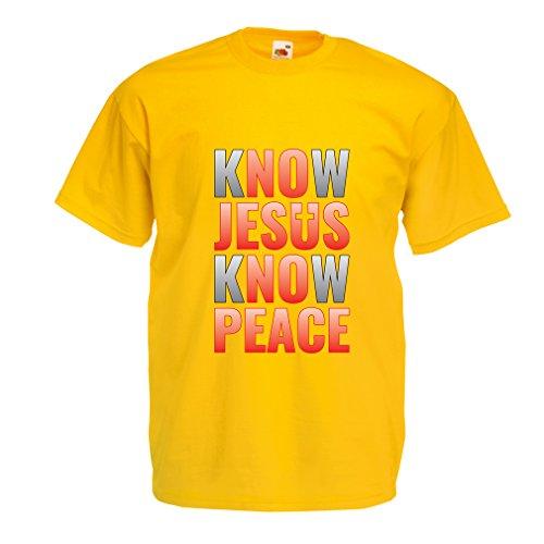 lepni.me T Shirts For Men Know Jesus Know Peace! Christian Clothing Jesus Saves t Shirt (Medium Yellow Multi Color)