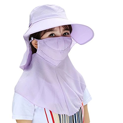 Vrcoco Women Outdoor Wide Brim 360 Degree UV Protection Hat Summer Fishing Breathable Cap Neck Face Flap Hat with a Face -