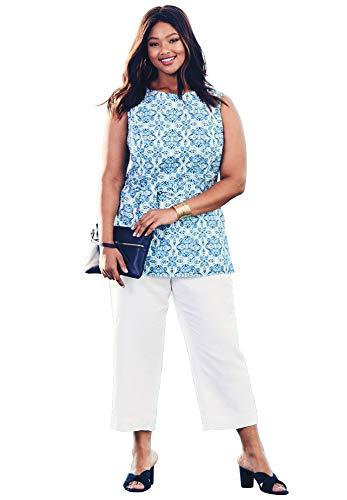 Jessica Pant Suit - Jessica London Women's Plus Size Linen Blend Capri Set - Cool Mint Tile Print, 22