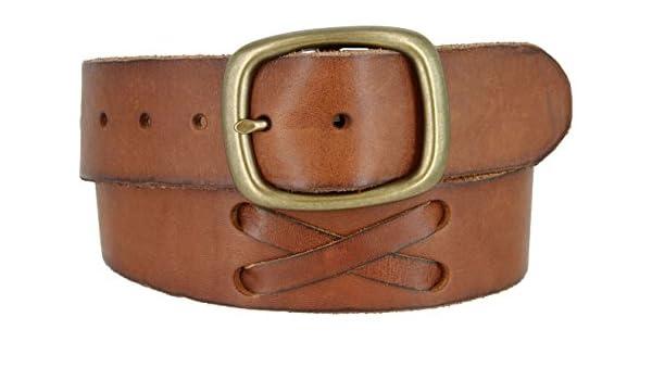 No Buckle Quality Full Grain Dark Tan Leather Belt Strap 1 3//4 Inch Wide 45mm