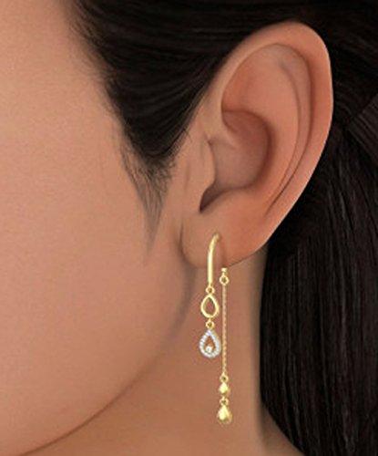 18K Or jaune 0,13CT TW White-diamond (IJ   SI) Pendants d'oreilles