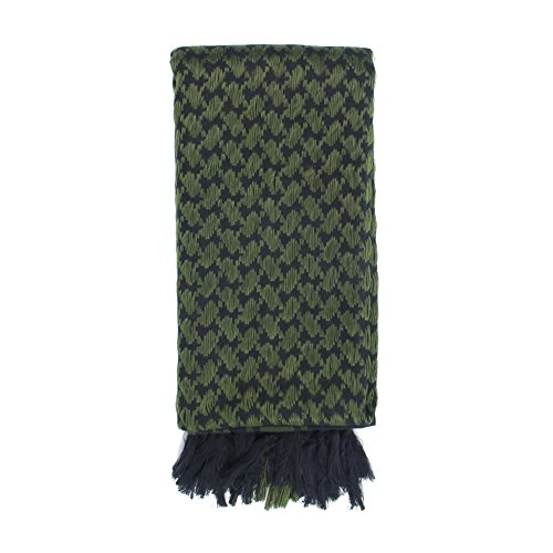 Explore Land 100% Cotton Shemagh Tactical Desert Scarf Wrap (Black and Green) by Explore Land (Image #1)