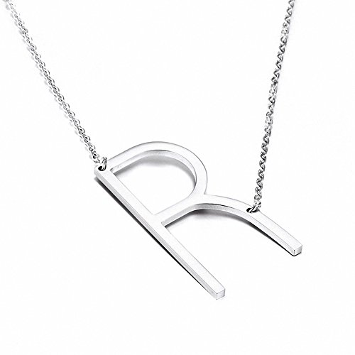 Style Pendent Necklace - Jwoolw Stainless Steel Silver Sideways Big Initial Alphabet 26 Letters Name Pendant Chain Necklace From A-Z for Girls (Style R)