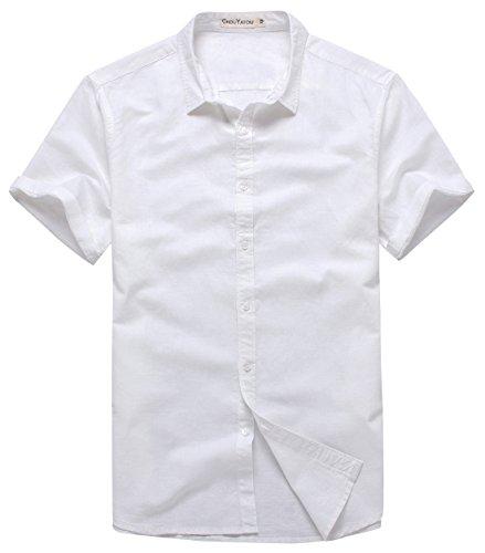 Chouyatou Men's Summer Basic Collar Short-Sleeved Linen Shirts (Large, (White Linen Shirt)