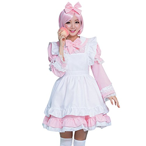 Womens Halloween Costumes Little Maid with Detachable Sleeves and Apron Pink (Cute Modest Halloween Costumes)