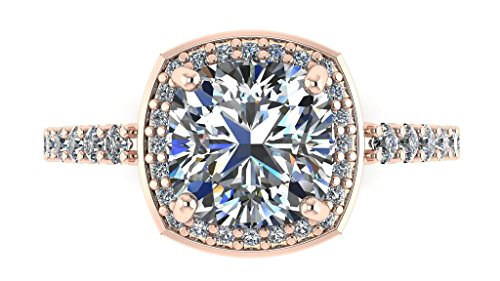 Cushion Cut Center (NANA Silver 7mm Cushion Cut Swarovski Zirconia Halo Engagement Ring-Rose Gold Plated-Size 5)