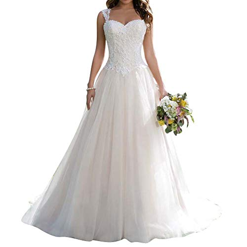 Wedding Dress Lace Bridal Gown A line Wedding Gown Sweetheart Sleeveless White