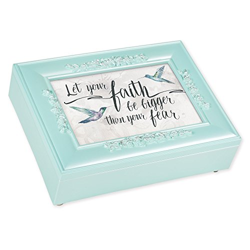 Cottage Garden Faith Bigger Than Fear Mint Green Pearlescent Decorative Jewelry Keepsake Box by Cottage Garden
