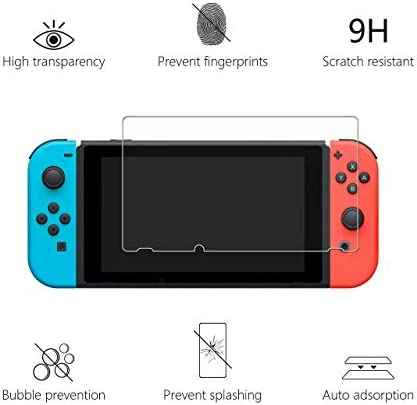 [3 Pack] for Nintendo Switch Screen Protector Tempered Glass Transparent HD Clear Anti-Scratch Screen Protector [Works While Docking] - 0.3mm Thickness/Bubble Free/Ultra Clear/9H Hardness/Anti-Scratch/Shatterproof/Anti-Fingerprint for Nintendo Switch