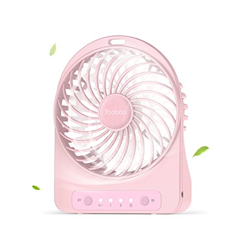 Battery Operated Mini Desk Fan, Yoobao Portable Personal Table Fan, Small Handheld Electric Cooling Fan for Office, Outdoor Camping and Travel (3300mAh Rechargeable Battery, 3 Speeds) - Pink