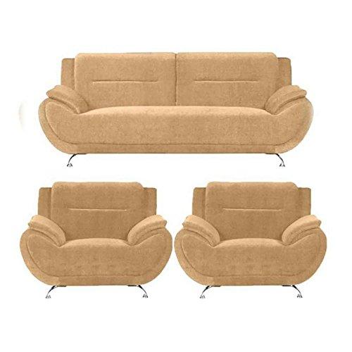 Sofas Velvet Fabric Five Seater Sofa Set 3+1+1 | Cream | Karl